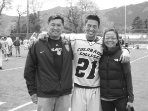 Chris Quon with his parents Diane and David. Photo courtesy of Toby Cohen.